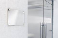 Modello di vetro in bianco di progettazione della targhetta, rappresentazione 3d Fotografia Stock Libera da Diritti
