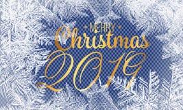 Modello di vetro del gelo Struttura di inverno su fondo trasparente Illustrazione di Natale di vettore 2019 strutture nevose bian royalty illustrazione gratis