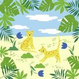 Modello di vettore con i leopardi e le foglie tropicali illustrazione di stock