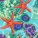 Modello di vettore con il mare sotto acqua floreale Immagini Stock Libere da Diritti