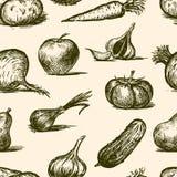 Modello di vettore degli schizzi di frutta e delle verdure illustrazione di stock