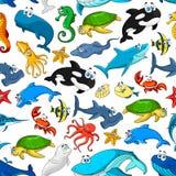 Modello di vettore dei pesci di mare e degli animali del fumetto Immagine Stock