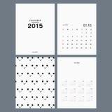 Modello di vettore del calendario 2015 Fotografie Stock Libere da Diritti