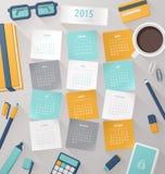 Modello 2015 di vettore del calendario con Fotografie Stock
