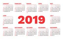 Modello di vettore del calendario 2019 su un fondo bianco royalty illustrazione gratis