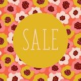 Modello di vettore del manifesto di vendita con fondo floreale variopinto Cerchio su corallo, oro, beige, fiori scandinavi rosa d illustrazione di stock