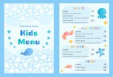 Modello di vettore del menu del ` s dei bambini di stile del mare Fotografia Stock