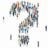 Modello di vettore del punto interrogativo della folla della gente illustrazione di stock