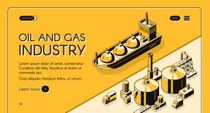 Modello di vettore del sito Web della società di raffinazione del petrolio illustrazione vettoriale