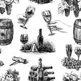 Modello di vettore del tema di fabbricazione di vino illustrazione di stock