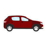 Modello di vettore dell'automobile su fondo bianco Berlina di affari isolata stile piano della berlina rossa Vista laterale Immagini Stock