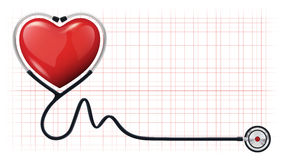 modello di vettore dello stetoscopio del cardiogram del cuore 3d Fotografie Stock Libere da Diritti