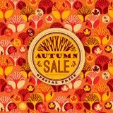 Modello di vettore di autunno con tipografia di vendita Immagine Stock