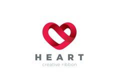 Modello di vettore di progettazione di logo del cuore Giorno di S. Valentino della st del simbolo di amore Icona medica di concet Fotografia Stock