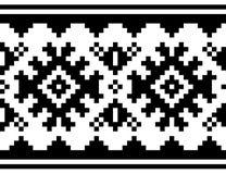 Modello di vettore di inverno - progettazione tradizionale del ricamo del punto croce della gente di sami, arte di piega scandina royalty illustrazione gratis