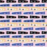 Modello di vettore di Memphis Style Crosses Abstract Seamless, arte disegnata di scarabocchio illustrazione vettoriale