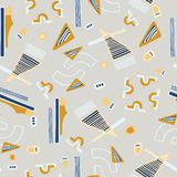 Modello di vettore di Memphis Style Geometric Abstract Seamless royalty illustrazione gratis