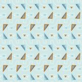 Modello di vettore di Memphis Style Geometric Abstract Seamless, triangoli blu Illustrazione Vettoriale