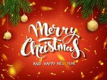Modello di vettore di progettazione di Natale Iscrizione calligrafica di Buon Natale decorata Modello del manifesto di Natale Vet Illustrazione Vettoriale