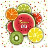 Modello di vettore di vendita di estate per la promozione di progettazione dell'insegna Anguria della frutta tropicale, kiwi, lim Immagini Stock