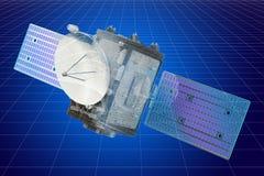 Modello di visualizzazione 3d cad del satellite, rappresentazione 3D illustrazione vettoriale