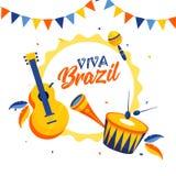 Modello di Viva Brazil o progettazione del manifesto con gli strumenti di musica illustrazione di stock