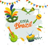 Modello di Viva Brazil o progettazione del manifesto con l'illustrazione degli strumenti di musica royalty illustrazione gratis