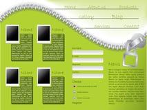 Modello di Web site con il disegno della chiusura lampo Fotografie Stock