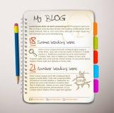 Modello di Web site del blog Immagine Stock