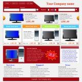 Modello di Web site di commercio elettronico Fotografia Stock Libera da Diritti
