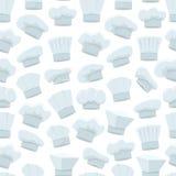 Modello di White Hats Background del cuoco unico del fumetto Vettore Fotografia Stock Libera da Diritti