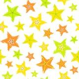 Modello dipinto fondo di Starfruit Immagine Stock
