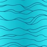 Modello dipinto a mano dell'onda senza cuciture nei colori blu Immagine Stock