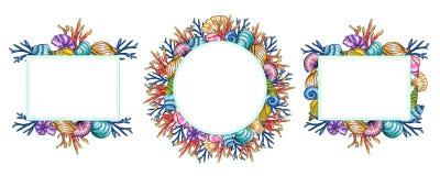 Modello dipinto a mano delle coperture e dei coralli dell'acquerello isolato su fondo bianco illustrazione vettoriale