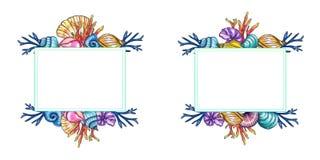 Modello dipinto a mano delle coperture e dei coralli dell'acquerello isolato su fondo bianco illustrazione di stock
