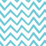 Modello dipinto a mano senza cuciture di zigzag blu-chiaro astratto Struttura del tessuto del mare della natura Fondo del gallone Immagine Stock