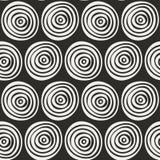 Modello disegnato a mano alla moda senza cuciture Illustrazione di vettore con i cerchi concentrici Fotografie Stock