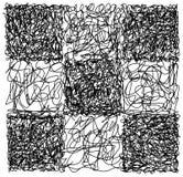Modello disegnato a mano astratto di caos della scacchiera di scarabocchio dello scarabocchio illustrazione vettoriale