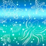 Modello disegnato a mano con differenti creature del mare Fotografia Stock Libera da Diritti