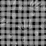 Modello disegnato a mano con la corona Principessa di progettazione di scarabocchio piccola Fotografie Stock Libere da Diritti