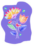 Modello disegnato a mano creativo della carta con i fiori Può usare per nozze, il compleanno, l'anniversario, inviti del partito  Fotografia Stock