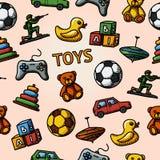 Modello disegnato a mano dei giocattoli senza cuciture con - l'automobile, anatra Fotografie Stock