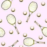 Modello disegnato a mano dell'acquerello con le racchette e le palle di tennis Fotografia Stock