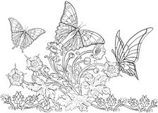 Modello disegnato a mano dell'inchiostro Coloritura del libro da colorare per la pagina adulta per il libro da colorare: molto in Fotografia Stock Libera da Diritti
