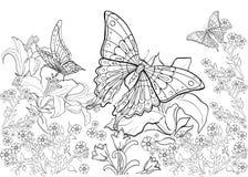 Modello disegnato a mano dell'inchiostro Coloritura del libro da colorare per la pagina adulta per il libro da colorare: molto in Fotografia Stock