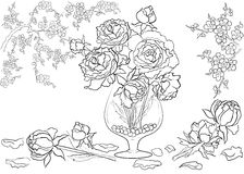 Modello disegnato a mano dell'inchiostro Coloritura del libro da colorare per la pagina adulta per il libro da colorare: molto in Immagine Stock