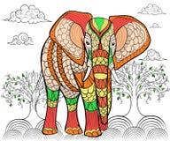 Modello disegnato a mano dell'inchiostro Libro da colorare per l'adulto Immagini Stock Libere da Diritti