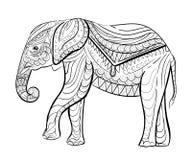 Modello disegnato a mano dell'inchiostro Libro da colorare per l'adulto Immagine Stock