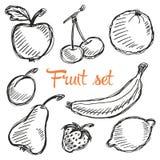 Modello disegnato a mano della frutta senza cuciture con la mela, ciliegia, limone, banana, fragola, prugna, pera, pesca, arancio Fotografie Stock Libere da Diritti