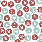 Modello disegnato a mano di festa senza cuciture con i fiocchi di neve, cuori, alberi di Natale Illustrazione di vettore illustrazione di stock
